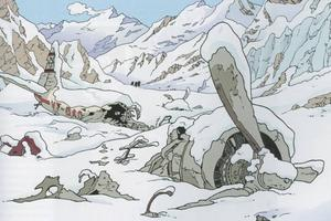 """Det vita albumet. Flygplansvraket i """"Tintin i Tibet"""", dit Tintin reser för att rädda sin vän Tchang."""