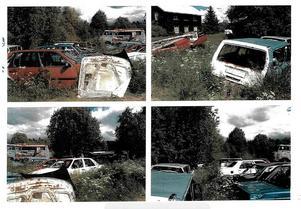 Skrotbilar i massor på en tomt i kommunens västra delar.