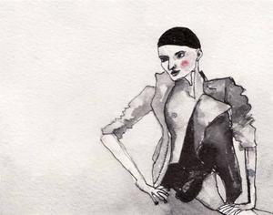 MODE. Modevärlden inspirerar Kajsa Hallner och hon arbetar i tusch och akvarell.