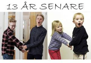 Alva och Axel Axelson bjuder på sig själva och poserar som på bilden som publicerades i Arbetarbladet när de fyllde fem år.