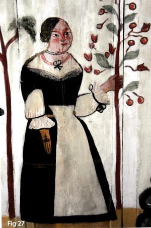 Det är unikt med en målning av den våldtagna unga flickan Dina i ett kapell.