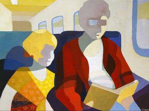"""""""På resa"""" är en bild vars färgsättning redovisas detaljerat på en liten skärm på utställningen hos Bolin."""" I väntan på Björn Ferry"""" heter en av bilderna om tidstjuvar som Lennart Samor visar hos Bolin."""