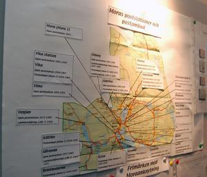 Till utställningen hade en karta med alla poststationer och postombud i Mora satts upp. På den tiden var Postverket ett stort företag även i Mora.