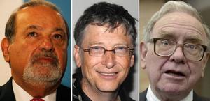 Carlos Slim, Bill Gates och Warren Buffet är rikast på jorden.