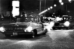 Power Meet 1985. Nattlig cruisning andra året i Västerås. 1984 var första gången Power Meet kom hit.