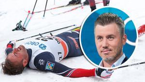 Petter Northug sågas av Per Elofsson. Foto: TT (Montage).
