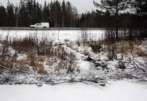Den här bilden är tagen från isen som nu ligger på dammen. Här syns hur nära vägen själva bäverhyddan och fördämningen är.