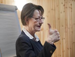 Gudrun Schyman vid ett besök i Hudiksvall 2014.