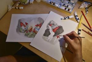 Joakim Dupai har målat bilderna till Täpp Lars Arnassons julsaga.
