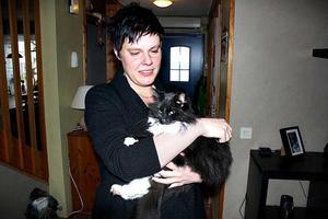 Katten Elsa är åter i matte Helene Tollbrants trygga famn i Vallhov. Hon har nu fått utegångsförbud på obestämd tid så att hon inte försvinner med någon släpkärra igen.