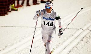 Charlotte Kalla på väg mot guldet i damernas tremil vid SM-tävingarna i Åsarna. Segern var Kallas 16:e i SM och nu kör hon inget fler lopp den här säsongen.