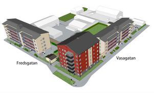 Flyter det på bra med uthyrningen i de två första husen så kan det mycket väl bli byggstart för det tredje huset, till vänster på skissen, redan hösten 2013, enligt Ludvikahems vd.