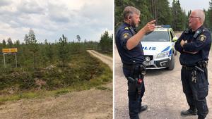 Vägen mellan Särna, i Älvdalens kommun, och Lillhärdal i Härjedalen har stängts av. Till höger: poliserna Jan Henriksson och Jan Sjöwall.