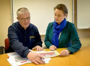 Rune Daniels, räddningschef, och Annette Riesbeck, kommunalråd, diskuterar vad de kan göra för att kommuninvånarna ska kunna känna sig trygga –