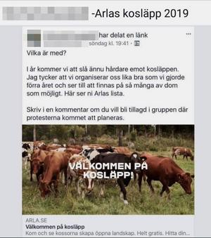 Detta inlägg har anmälts. Till Kvällsposten säger personen som la upp det på Facebook att det inte var menat som ett hot, men förstår att lantbrukare har uppfattat det så.