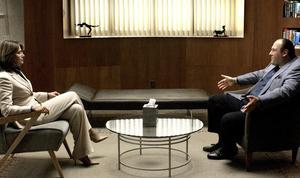 Mänsklig. Maffiabossen Tony Soprano hos sin terapeut. Detta är påhittat. I torsdags slog polisen till och grep 125 medlemmari den amerikanska östkustmobben. Det är verkligheten. arkivbild: AP Photo/HBO/scanpix)