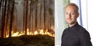 Historiskt sett har 1-2 procent av skogen brunnit årligen i Sverige. Patrick Mattisson, kommunikatör vid Skogsindustrierna vill att den nya sajten ska underlätta i en krissituation. Foto: TT och privat.
