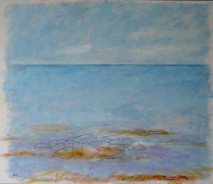 En 15 år gammal målning med kustlandskap av Bia Hellström.