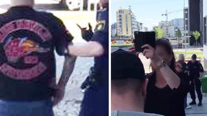 Polisen kroppsvisiterade medlemmar ur mc-klubben Red Devils utanför tingsrätten i samband med en rättegång mot två medlemmar ur klubben 2016. Två poliser försökte förhindra försvarsadvokaten från att filma kroppsvisitationerna genom att bland annat ställa sig i vägen och hålla upp en mobilkamera. Foto: Skärmdumpar ur advokatens film, som lämnats till JO