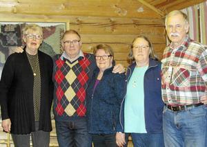 SPF Orsas nyvalda styrelse består av från vänster, Mona Lindh, Bernt Westerhagen Birgitta Jemt, Karin Olmås-Hållén och Bengt Hållén. På bilden saknas Bert Sars och Sven-Erik Sjöberg.