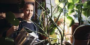 Anna Rydne vattnar växterna med vatten från torktumlaren. Foto: Erik Simander / TT