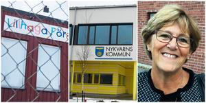 När Lillhaga förskola evakuerades flyttade barnen till Furuborgskolan. Snart måste ett par avdelningar flytta igen. Märtha Dahlberg är kritisk mot partierna som styr Nykvarn.