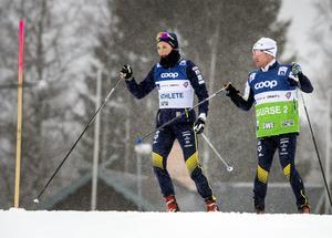 Stina Nilsson vid fredagens glidtest  inför helgens världscuptävlingar i Falun. Foto: Ulf Palm/TT