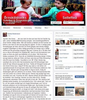 I Facebook-gruppen Sollefteå och Örnsköldsvik Framtidens Akutsjukhus berättar Emma Andersson om den dramatsika bilförlossningen.
