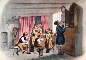 En follkskola i Vingåker . Teckning av Robert Wilhelm Ekman från 1845.