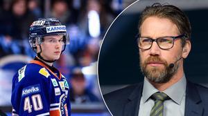 Växjös Elias Pettersson har tangerat Peter Forsbergs 48 poäng som junior i SHL. Bild: Jonas Ljungdahl/Carl Sandin/Bildbyrån.