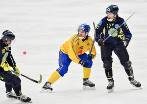 Martin Johansson i duell med Kazakstans Sergej Pochkonov under VM i Sandviken förra året. Foto: Jonas Ekströmer / TT