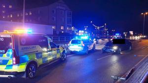 Dagen innan julafton 2019 var det en trafikolycka vid Köpingsvägen/Köpmangatan i Västanfors.