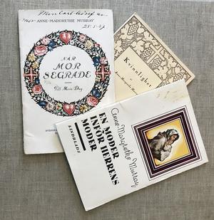 Tre av de böcker Anne-Margrethe gav ut mellan 1909 och 1951.