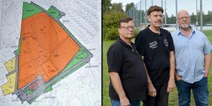 Per Olov Belin, Thord Forsman och Lars Leander undrar varför kommunen vill ha in deras villatomter i samma detaljplan som idrottsplatsen i Kvarnsveden.