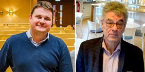 Niklas Säwén (S) (till vänster), socialnämndens ordförande och Erik Lundin, fastighetschef på Drakfastigheter.