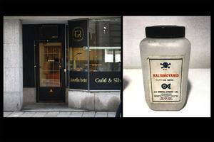 Ove var guldsmed och hade butik och verkstad på Hantverkaregatan i Stockholm. I butiken fanns bland annat denna burk med cyanid som används vid förgyllning. Under ett par månader jobbade även Barbara Jarl i butiken. Foto: Polisens förundersökning