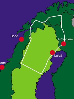 Försvarsmaktens karta över flygövningsområdet.