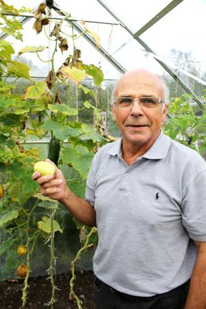 Claes gillar att odla, här håller han i en äppelgurka.