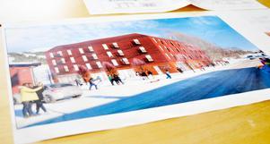 I framtiden blir det praxis praxis för Årehus att bygga i trä. Skissen visar ett av Årehus senaste bostadshus i centrala Duved som nu är färdigbyggt.