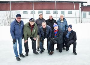 Kvalhjältarna 50 år senare. Främre raden från vänster: Ove Wedin, Ernst Hedin,