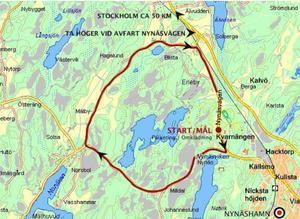 Tävlingsbanan har markerats med röd färg. Karta: Falkenloppet