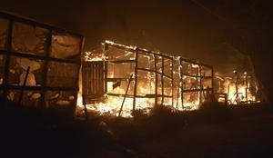 Branden förstörde flyktinglägret Moria på den grekiska ön Lesbos. Foto: Panagiotis Balaskas/AP Photo