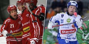Jesper Bryngelson. Till vänster: I årets allsvenska kval. Till höger: I Villas bronsmatch mot Hammarby säsongen 2014/2015. Bild: Veronika Ljung-Nielsen / Marcus Ericsson (TT)