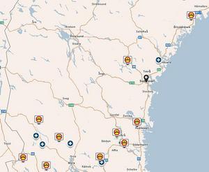 Trafikverkets karta över tjälskadade vägar i Västernorrland, Jämtland och Gävleborg i mitten av april.
