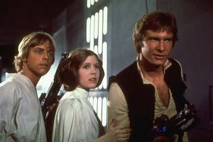 Mark Hamill, Carrie Fisher och Harrison Ford i George Lucas berömda rymdopera