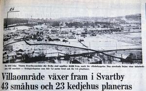 ÖA 21 november 1968. En bild från västra Svartbyområdet där Ö-viks stad upplåter 45 800 kvadratmeter mark för villabebyggelse. Den streckade linjen visar infartsvägen till området - Trädgårdsgatan som blir 7,5 meter bred och får två gångbanor.