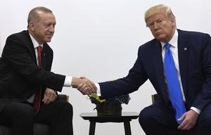 Turkiets president Recep Tayyip Erdoğan skakar hand med USA:s president Donald Trump vid ett möte i Osaka i somras. Foto: Susan Walsh/AP Photo