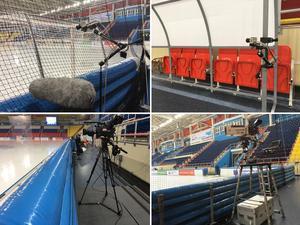 Ett axplock av kamerorna i Erofey Arena som filmar VM-matcherna; bakom mål-kamera, kamera mot utvisningsbänken, långsida vid isen och kortsidan.