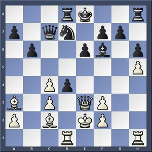 Lösning: 1.Dxe6+ fxe6 2.Lg6.
