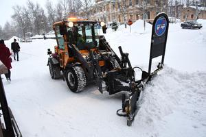 Snöröjning i Östersund den 28 december 2017.